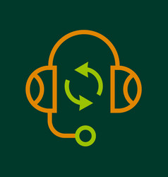 listening icon outline style vector image vector image