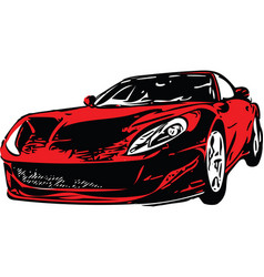 red sportscar vehicle silhouette vector image