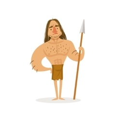 Tall muscly warrior with a spear wearing loincloth vector
