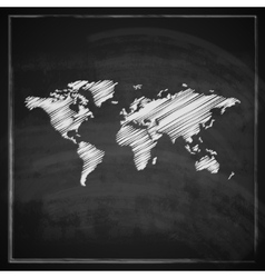 vintage with the world map on blackboard vector image
