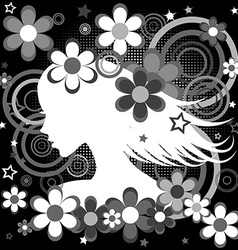 Abstract black and white backgrund with woman vector image vector image