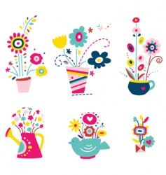collection of flowers in pots vector image vector image