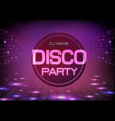 Disco abstract background neon sign disco party vector