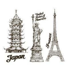 Travel Hand drawn sketch Japan USA France vector image