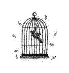 dotwork bird in a cage vector image