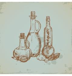 Hand drawn olive oil in glass bottles still life vector