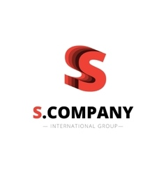 Isometric layered s letter logo company vector