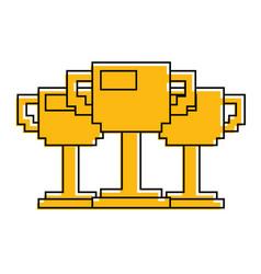 set of pixelated trophy award game vector image