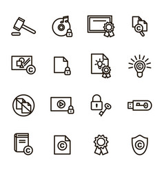 copyright signs black thin line icon set vector image vector image