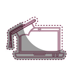 laptop computer with graduation hat isolated icon vector image vector image