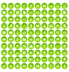 100 database and cloud icons set green circle vector