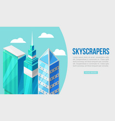 3d city with skyscrappers concept vector image