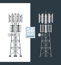 5g network mast base stations isolated set vector