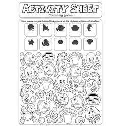Activity sheet counting game topic 2 vector