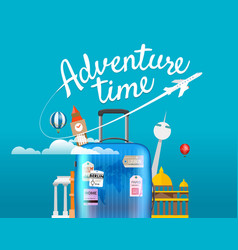 Adventure time travel with the handbag vector