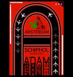 Airport poster amsterdam stock t-shirt design vector