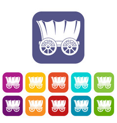 Ancient western covered wagon icons set flat vector