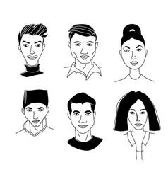 asian womens mens head portraits mono-ethnic team vector image