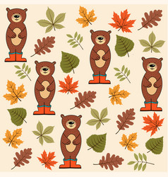 autumn seamless pattern with leaves and bears vector image