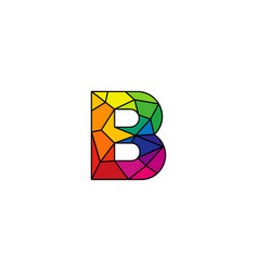 B colorful low poly letter logo icon design vector
