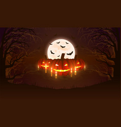 background with pumpkins bats moon and scary vector image