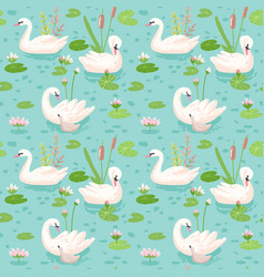 Beautiful seamless pattern with white swans vector