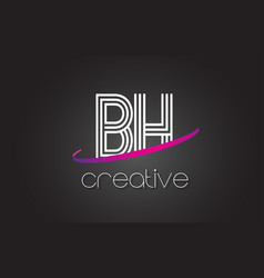 Bh b h letter logo with lines design and purple vector
