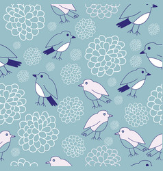 Birds and flowers seamless pattern design vector