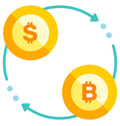 Bitcoin exchange flat vector