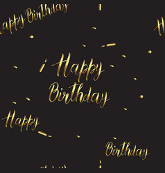black-and-gold pattern with a birthday sign happy vector image