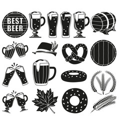 Black and white 18 oktoberfest elements silhouette vector