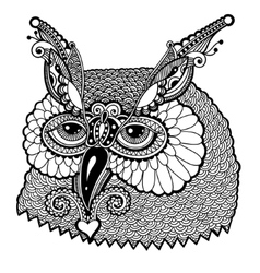 black and white owl head vector image