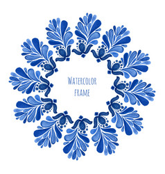 Blue traditional floral round frame in russian vector