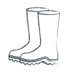 blurred sketch silhouette of fishing plastic boots vector image