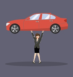 Business woman carry a heavy car vector image