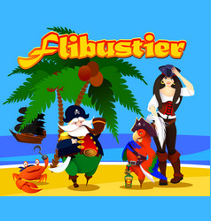 cartoon characters pirates on the island vector image