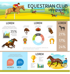 cartoon equestrian club infographic template vector image