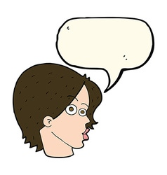 cartoon female face with speech bubble vector image