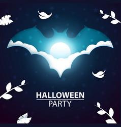 cartoon paper landscape halloween bat vector image