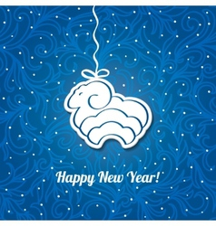 Christmas blue card with sheep background vector
