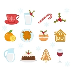 Christmas food icons set set of traditional vector