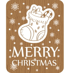 Christmas greeting card with sock on wood vector