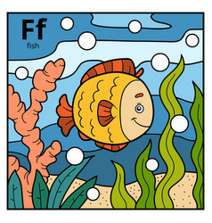 color alphabet for children letter f fish vector image