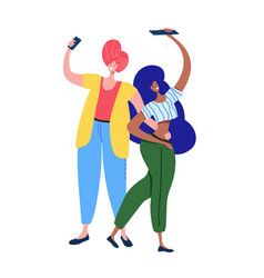 couple taking selfie photo holding camera vector image