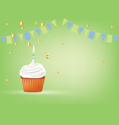 cupcake with white candle birthday card vector image