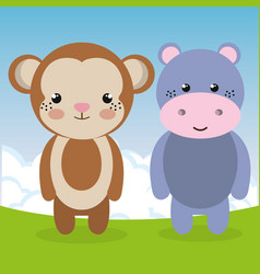 Cute monkey and hippo in the field landscape vector