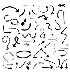 Doodle arrows set hand drawn cartoon signs vector