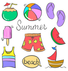 doodle of object holiday summer vector image