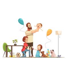 Family home retro cartoon poster vector