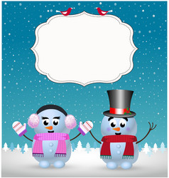 festive winter greeting card template of cute vector image